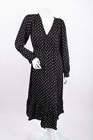 Zara Womens Midi Flowy Dress M Black White Polka Dot Long Sleeve 9006/164 NWT