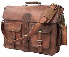 Mens Genuine Vintage Leather Messenger Business Laptop Briefcase Satchel Bag 18""