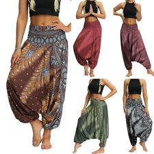 Mujeres holgados Harem Pantalones Hippie Yoga suelto de pierna ancha Boho Aladdin Alibaba Pantalones