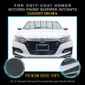 For 2017-2021 Accord Front Bumper Fangs Accent Graphic Decal Matte Carbon Fiber