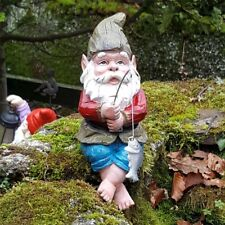 Garden Fishing Gnome - Max shelf sitting with Fish and Rod