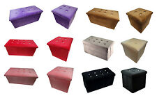Single Double Velvet Diamante Ottoman Pouffe Seat Foot Stool Bench Storage Chair