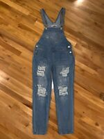 Hot Kiss Womens Ava Overall Distressed Destroyed Ripped Denim Bibs Jeans  Size 4
