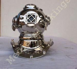Diving Helmet Diver Navy Full Brass Chrome Brass Meta Mini Vintage Halloween