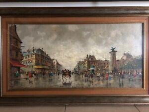 Dipinto,Quadro,Opera Arte,Painting artist Antonio De Vity Place de la République