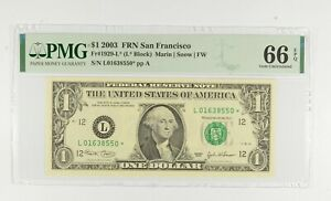 STAR NOTE - PMG Graded 66 EPQ $1 2003 FR1929-L* FRN - Error Replacement *816