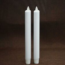 "8"" Luminara Flameless Taper LED Candles Moving Wick With Timer Set of 2 White"