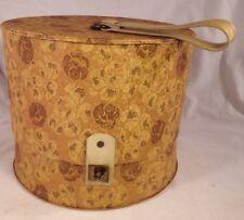 Vtg Train Hat Box Wig Case Everbest Hollywood FL Gold Vinyl Mid Century