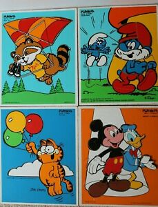 Lot of 4 Vintage Wooden Tray Puzzles - Playskool - Mickey Smurfs Garfield Ric
