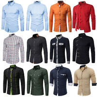 Men's Lattice Dress Shirt Long Sleeve Casual Luxury Slim Fit Formal Business Top