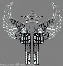 Double Pistol with Wings Rhinestone Iron on Transfer           VBVQ