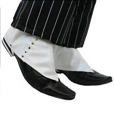 1920′s Gangster Shoe Spats Gentleman's White Shoe Boot Cover Roaring 20s Silver