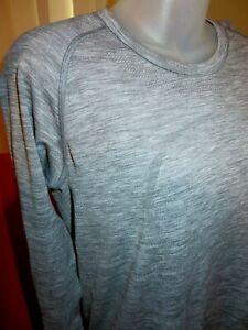 LULULEMON Swiftly Tech Long Sleeve Shirt Thumbholes Heathered Slate-Size 12 XL
