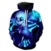 Game Undertale Sans Cosplay 3D Hoodie Sweatshirt Pullover Coat Hooded Jacke Blue