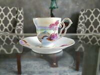 OCAGGO CHINA Vtg Porcelain Miniature Tea Cup & Saucer Set Hand Painted Gold Trim