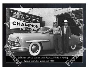 Historic Red Byron with his race car 1950 Postcard