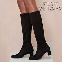 Stuart Weitzman Milla Womens Stretch Heeled Knee High Boots Black Suede US 6