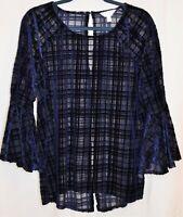 Lauren Conrad Runway Velvet Open Back Blouse Sheer Top 3/4 Bell Sleeves Blue XL