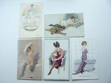 5 x Erotic Risque Postcards - some are French - Stockings - Naked Lady