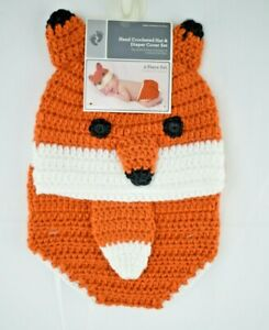 Baby Fox - Hand Crocheted Hat & Diaper Cover Set - Infant Size: 0 - 9 Months New