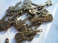 20 x Bronze Electric Guitar charms,scrapbooking,card & jewellery making 30x10mm