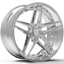 4-NEW ROSSO 701 REACTIV 20x8.5 5x110 +38mm Chrome Wheels Rims