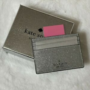 🌸 NEW 2021 Kate spade Boxed Shimmy Glitter Card Case Card Holder Wallet NWT