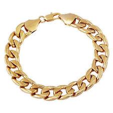 Vintage Yellow gold filled women mens punk Cuba bracelet 12mm chain Punk jewelry