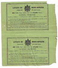 2 Billets de la Loterie du musée NAPOLEON  1863