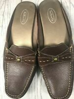 TALBOTS Brown Leather Slip On Shoe / Size 8.5 B  /Front Bow /Low Heel/CUTE!