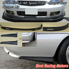 SPN Style Front (PU) + Mu-gen Style Rear Bumper Aprons (PU) Fit 99-00 Civic 2dr