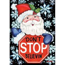 Christmas Santa Believe Snowflake Double Sided Garden Flag 13 x 18