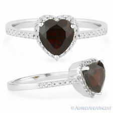 1.68 ct Heart-Shape Garnet Round Diamond Right-Hand Promise Ring 14k White Gold