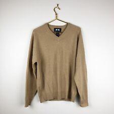 WOODS & GRAY 100% Cashmere V-Neck Sweater Men's Camel Beige Sz M