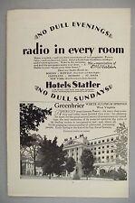 Hotels Statler and Greenbrier Resort PRINT AD - 1929