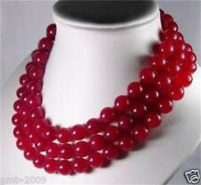 """Stunning Pretty 3 Rows Natural 8mm Red Jade Round Gemstone Beads Necklace 16-17"""""""