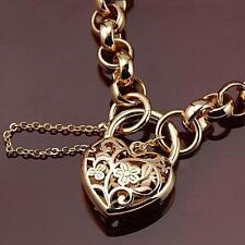 Women's 9k 9ct Yellow Gold Filled Filigree Heart Bechler Padlock Bracelet GF