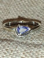 Vtg 1/2 ct solitaire Natural Tanzanite pear Ring solid white 9ct gold size N 7