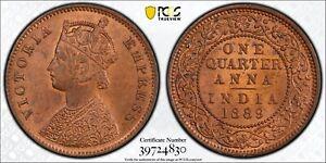 1889 (C) India British 1/4 Anna PCGS MS64 RB Copper Registry Coin KM 486 Gold 🛡