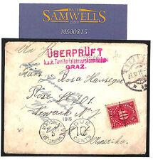 MS815 1915 AUSTRIA *Graz* WW1 MILITARY TRANSATLANTIC USA 10c Postage Due Cover