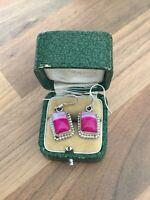 Sterling Silver Dangle Earrings Pink Stone