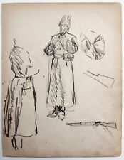 F. H. Townsend (1868–1920) Pencil drawing. Military figure in uniform.