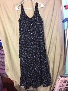 Darian vintage womens 12 floral navy button front dress retro 90s maxi long