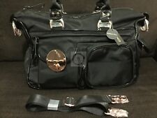 Mimco Turnlock Lucid Baby Bag Nappy Travel Black Rose Gold