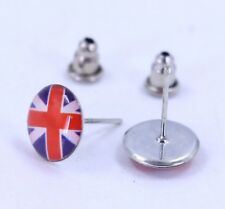 Pair Of 10mm Union Jack UK Flag Stud Earrings Great Britain Enamel Ear Rings