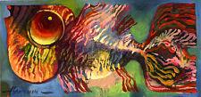"""Сolored Pescado/original al óleo sobre cartón por Sergej hahonin/9.8"""" X 4.7"""""""