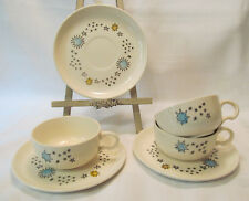 Stetson USA Mid Century Hand Painted STAR EXPLOSION 3 Cup & Saucers Sets