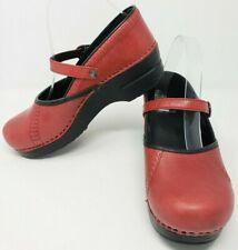Dansko 39 Clogs Mary Janes Red Leather Ankle Strap Stapled US 8.5 9 Marcelle