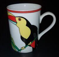 VTG Fitz & Floyd Toucan Mug Coffee Cup Glass 1980 Japan