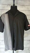 Mens Short Sleeve Hilton Retro Black and Silver Bowling Shirt XL